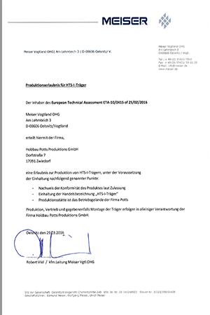 HTS-Zertifikat